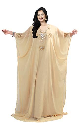 KoC Women's Kaftan Maxi Dress Farasha Caftan KFTNGOLD-Beige for sale  Delivered anywhere in USA