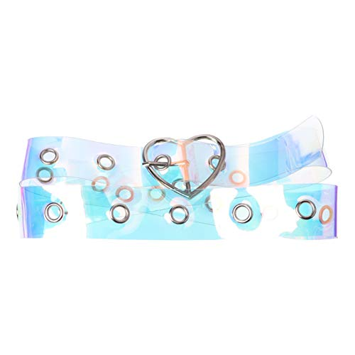 Women's Colorful Transparent Clear Holographic Belt for Women Jeans Shorts Pants Girls with Heart Buckle (Heart Cool Belt Buckle)