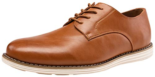 Tan Casual Oxford - VOSTEY Men's Oxford Plain Toe Dress Shoes Business Casual Shoes (10,Yellow Brown-02)