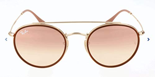 Ray-Ban RB3647N Round Double Bridge Sunglasses, Gold/Copper Gradient Flash, 51 ()