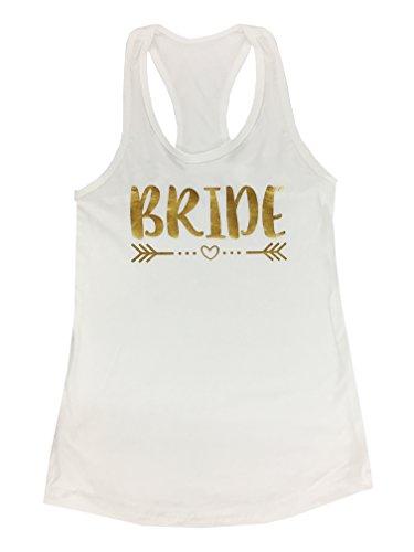 (Classy Bride Bride Metallic Gold Racerback Tank Top (White, M (4-6)))