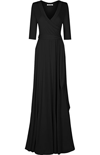 Bon Rosy Women's 3/4 Sleeve V-Neck Solid Maxi Wrap Dress Black M