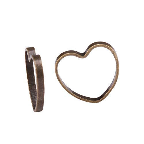 100pcs Top Quality Heart Ring Charm Connector Beads 9mm Antique Bronze plated for Jewelry Craft Making CF131