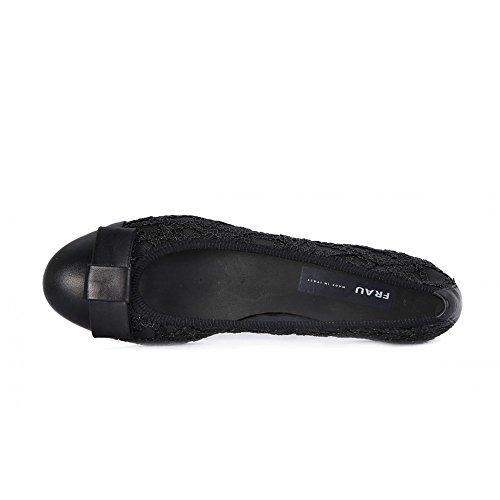 zapatos de mujer negro FRAU 70J1 elástica bailarines arco bordado pico de cuero Negro