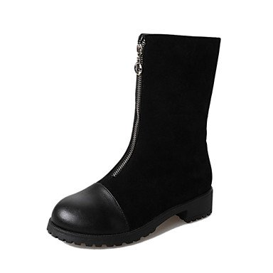 RTRY Women'S Shoes Leatherette Winter Fashion Boots Boots Chunky Heel Round Toe Mid-Calf Boots For Casual Dress Black US8 / EU39 / UK6 / CN39 RNuyjZRB7A