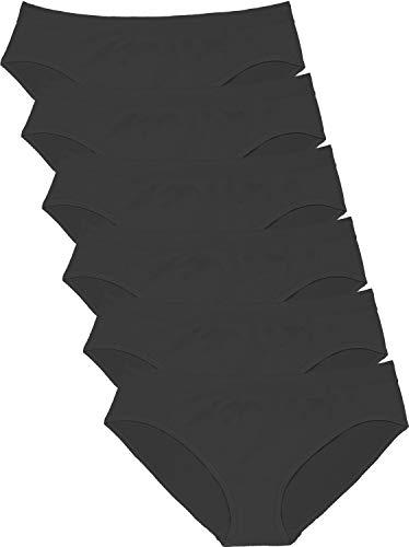 Areke Womens Bikini Panties Seamless Low Rise Underwear, Soft Stretch Cheekini Hipster Briefs 6 Pack Color Black Size (Microfiber Seamless Brief Panty)