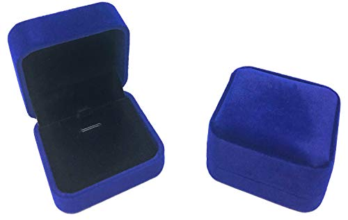 Rusoji Set of 2 Classic Velvet Jewelry Gift Box Case for Necklace Pendant (Dark Royal Blue)