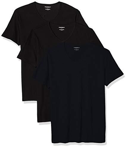 Emporio Armani Men's 3-Pack Regular Fit V-Neck Undershirt, Navy Black, Extra -