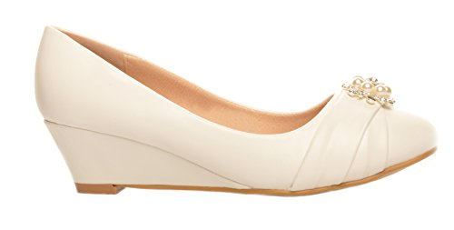 Blanquecino Broche de Perlas y Diamante Zapatos de Cuna Talones de la Boda Zapatos de Novia