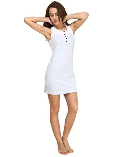 Suntasty Women's Nighties Cotton Chemise Striped Nightshirt Nightgown Robes