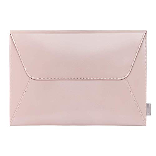 Comfyable Leather Laptop Sleeve 13-13.3 Inch for MacBook Pro & MacBook Air - PU Leather Envelope Sleeve Notebook Computer Case for Mac - Pink ()