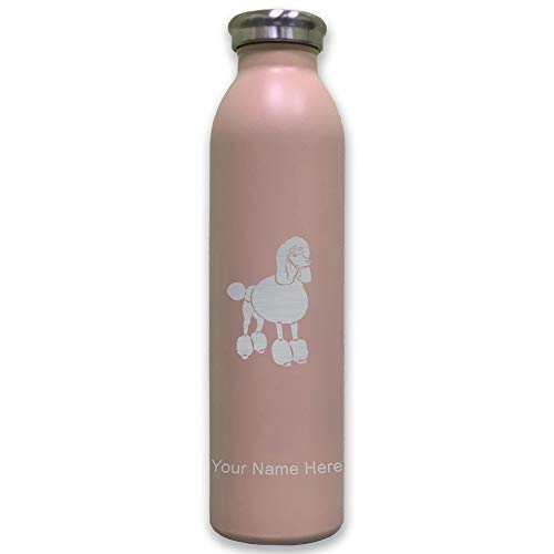 (Lasergram Sports Water Bottle, French Poodle Dog, Personalized Engraving Included (Pink))