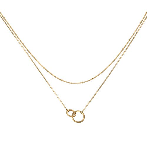 LOYATA Bohemia Layered Necklace, Cross Charm Pendant Neckalce Delicate Station Chain Multilayer Choker Necklaces for Women Girls (Double -
