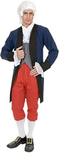 Adult Small 36-38 Blue and Red Colonial Ben Franklin Founding Father Costume (Red Ben 10 Costume)
