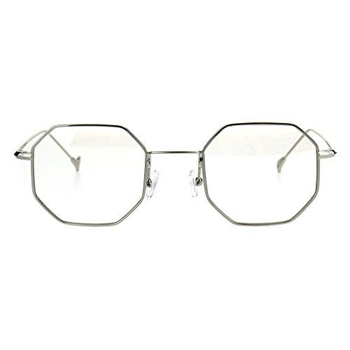 Mens Vintage Style Octagon Metal Wire Rim Snug Rectangular Sunglasses Silver - Rim Vintage Wire Glasses