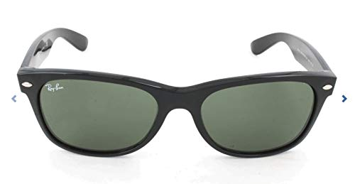 Ray-Ban RB2132 New Wayfarer Sunglasses, Black/Green, 55 mm