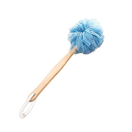 1PC Long Handle Hanging Soft Mesh Back Body Bath Shower 36cm12cm Wooden Handle Scrubber Brush Sponge (D)