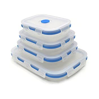 SAMMART Set of 4 Collapsible Silicone Food Container - Portable Food Storage box - Foldable Lunch Box - Stackable Outdoor Picnic Box - Space Saving Lunch Case - Rectangular