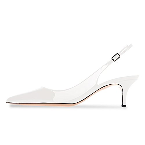 Women Pointy Toe Slingback Kittent Heel Sandals Evening Buckle Pumps Dress Shoes White Size 8 (White Slingback Heels)
