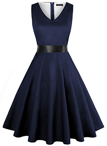IHOT Vintage Tea Dress 1950's Floral Spring Garden Retro Swing Prom Party Cocktail Dress for Women (XXXL, Navy Blue)
