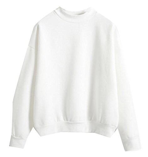 Plain White Sweatshirt (MLG Women's Stylish Long Sleeve Round Neck Plain Pullover Sweatshirt White S)