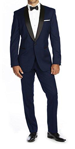 Braveman Mens Shawl Lapel Runway 2 Piece Tuxedo, Indigo, Size 38Rx32W Burgundy Tuxedo
