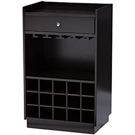 Baxton Studio Oscar Modern And Contemporary Wood Dry Bar And Wine Cabinet Dark Brown