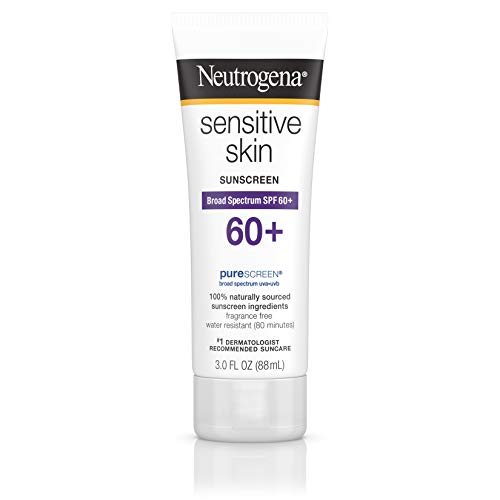 (Neutrogena Sensitive Skin Sunscreen Lotion with Broad Spectrum SPF 60+, Water-Resistant, Hypoallergenic & Oil-Free Gentle Sunscreen Formula, 3 fl. oz)