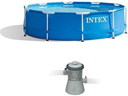 Intex 10 x 2.5 Foot Round Metal Frame Above Ground Pool 330 GPH Filter Pump