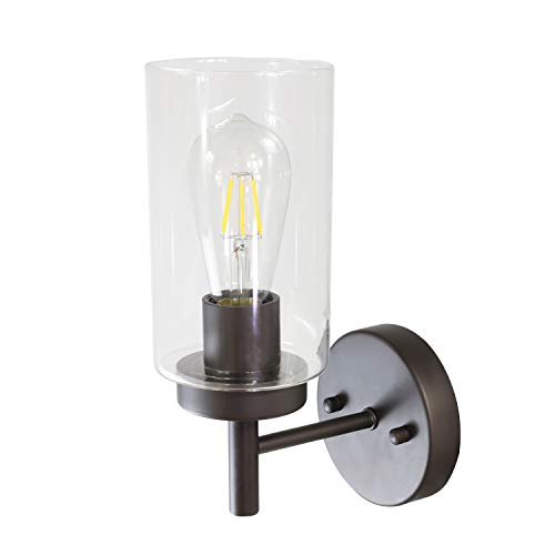 VINLUZ One Light Bathroom Wall Light Fixtures Oil Rubber Bronze with Frosted Glass, Porch Singel Wall Sconce Lighting