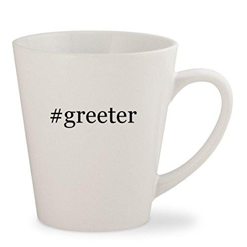 #greeter - White Hashtag 12oz Ceramic Latte Mug Cup (Snowman Latte Mug)