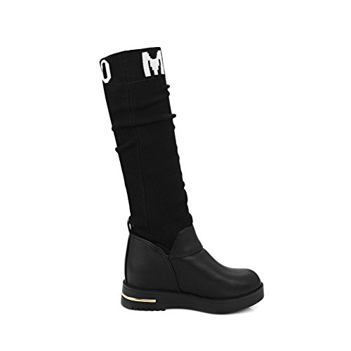 AgooLar Women's High-top Pull-on Soft Material Kitten-Heels Round Closed Toe Boots Black g5HMJ