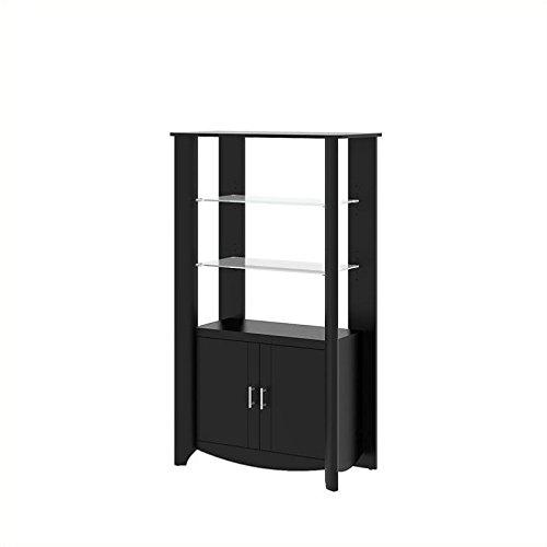 Small Corner Curio Cabinet (Bush Furniture Aero Tall Library Storage Cabinet with Doors)