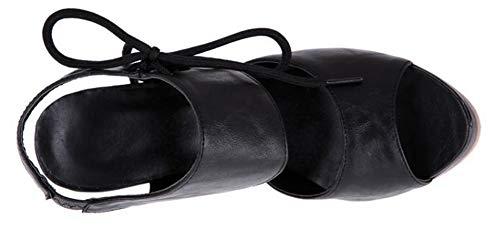 Bouche De Lacets Sexy Femme Poisson Sandales Sur Aisun Côté Noir Le wq0TYYxU
