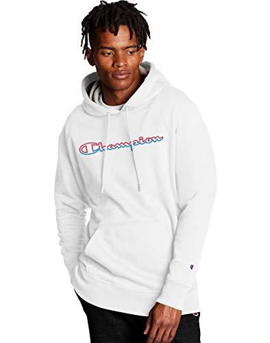 Champion Men's Powerblend Graphic Hoodie, White, Medium