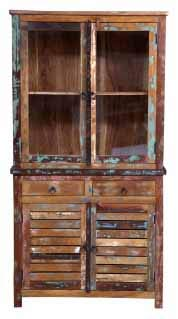 Coaster Home Keller Rustic China Cabinet With Louvered Doors Multi-color//Industrial