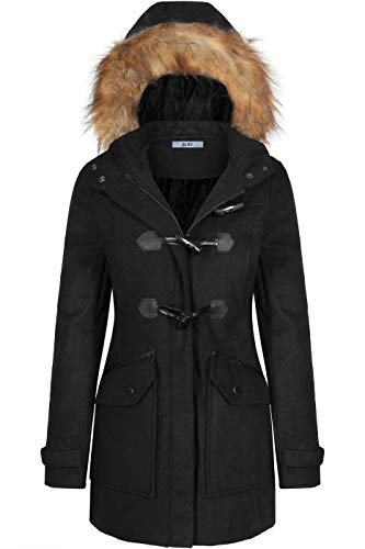 BodiLove Women's Faux Fur Trim Hooded Duffle Coat with Toggle Buttons Black L(PW044)