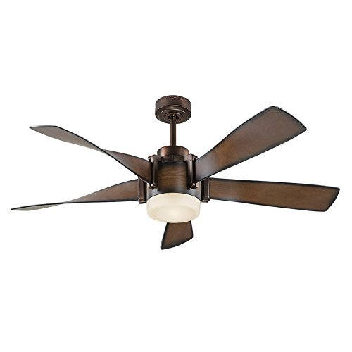 Kichler Lighting 52-in Mediterranean Walnut with Bronze Accents Downrod Mount Indoor Ceiling Fan with LED Light Kit and (52 Inch Lighting)