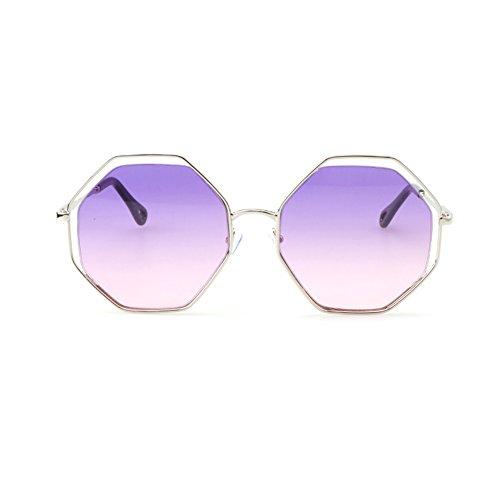 Soleil Irregular de Lunettes de Lunettes Trends Hommes Polygonal European Metals Purple Soleil de Lunettes Soleil pour Ww0WPgqS