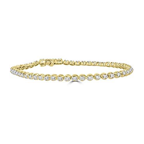 Eleganti 14K Gold, IGL Certified Diamond Tennis Bracelets for Women in White Gold - 1, 3, 4, 5 Carat Natural Diamonds (Yellow-Gold, 1)