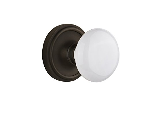 Nostalgic Warehouse Classic Rosette with White Porcelain Door Knob, Single Dummy, Oil Rubbed Bronze