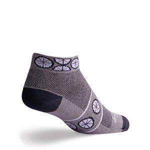SockGuy Women's Wheel Sock, Gray/Black/White, Small/Medium (6-10)