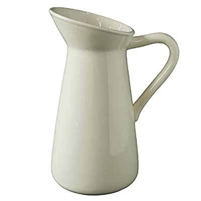 Hosley Cream Ceramic Pitcher Vase, Perfect for Flowers or Decorative Use and is Ideal for Dried Floral Arrangements Gifts for Home Weddings Spa and Aromatherapy Settings
