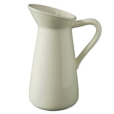 Elegant Expressions by Hosley Medium Ceramic Pitcher Vase, Cream