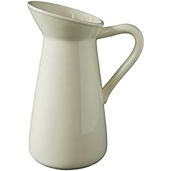 "Hosley's Cream Ceramic Pitcher/Vase - 10"" High, for Flowers/Decorative Use. Ideal for Dried Floral Arrangements Gifts for Home, Weddings, Spa and Aromatherapy Settings O3"