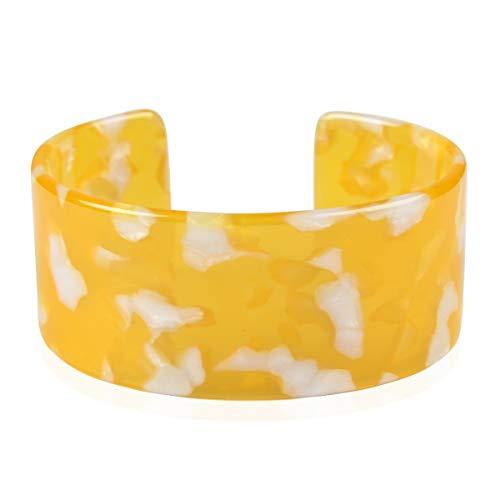 RIAH FASHION Lightweight Acrylic Open Cuff Statement Bracelet - Mottled Acetate Bangle Tortoise Shell/Leopard/Animal Design (Oversized - Yellow)
