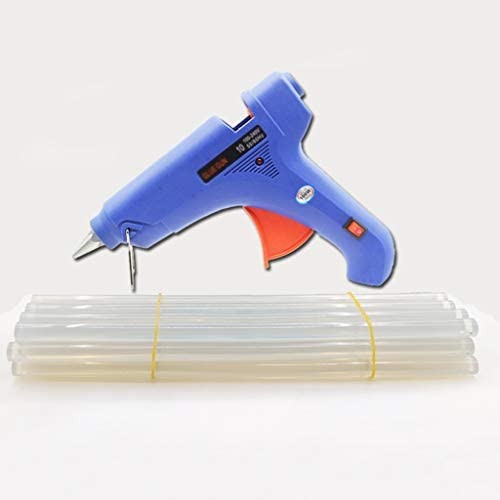 Minmin ホットメルト接着ガン、スティックのり、アルミノズルを100W工業用グレードホットグルーガンキット、扇型トリガーとブラケット、DIY高温高速暖房、ブルー ミニ (Color : I)