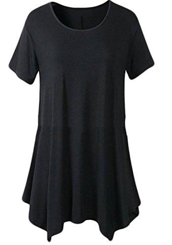 T Mini Dress Casual Crewneck Shirt Asymmetric Tunic Black Womens Domple Sleeveless 1wfTxq