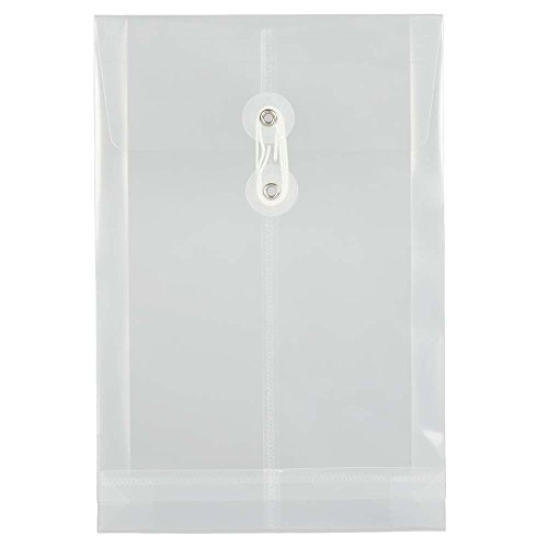 (JAM PAPER Plastic Envelopes with Button & String Tie Closure - 4 1/4 x 9 1/4 - Clear - 12/Pack)