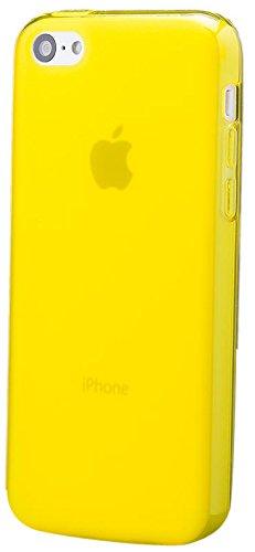 Apple iPhone 5C | Cas iCues TPU Matt Jaune | [Protecteur d'écran, y compris] protecteur de feuille transparente Temps clair de gel de silicone Housse étui de protection couverture Coque Housse Sac Étu